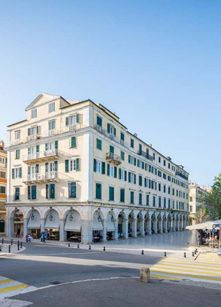 corfu old town apartment map points liston square preview